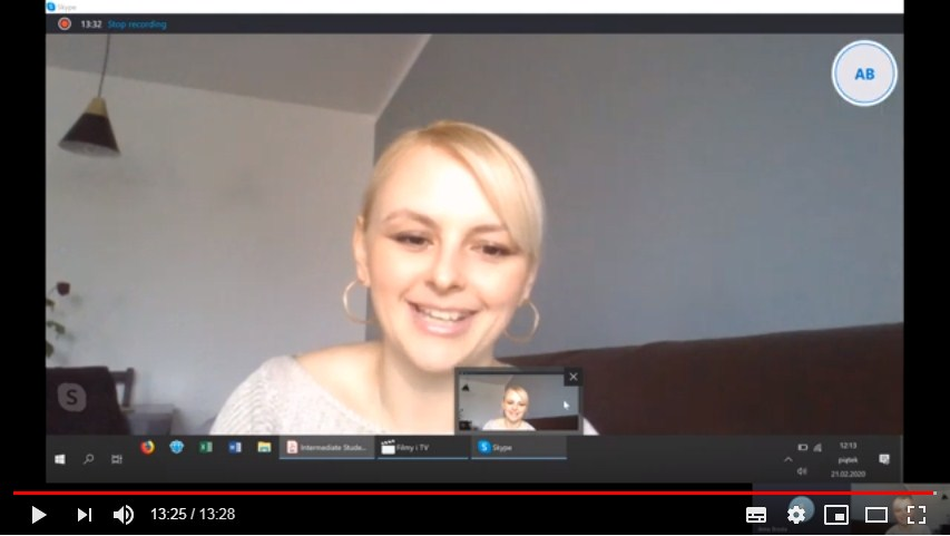 przykładowa lekcja angielskiego przez skype - youtube